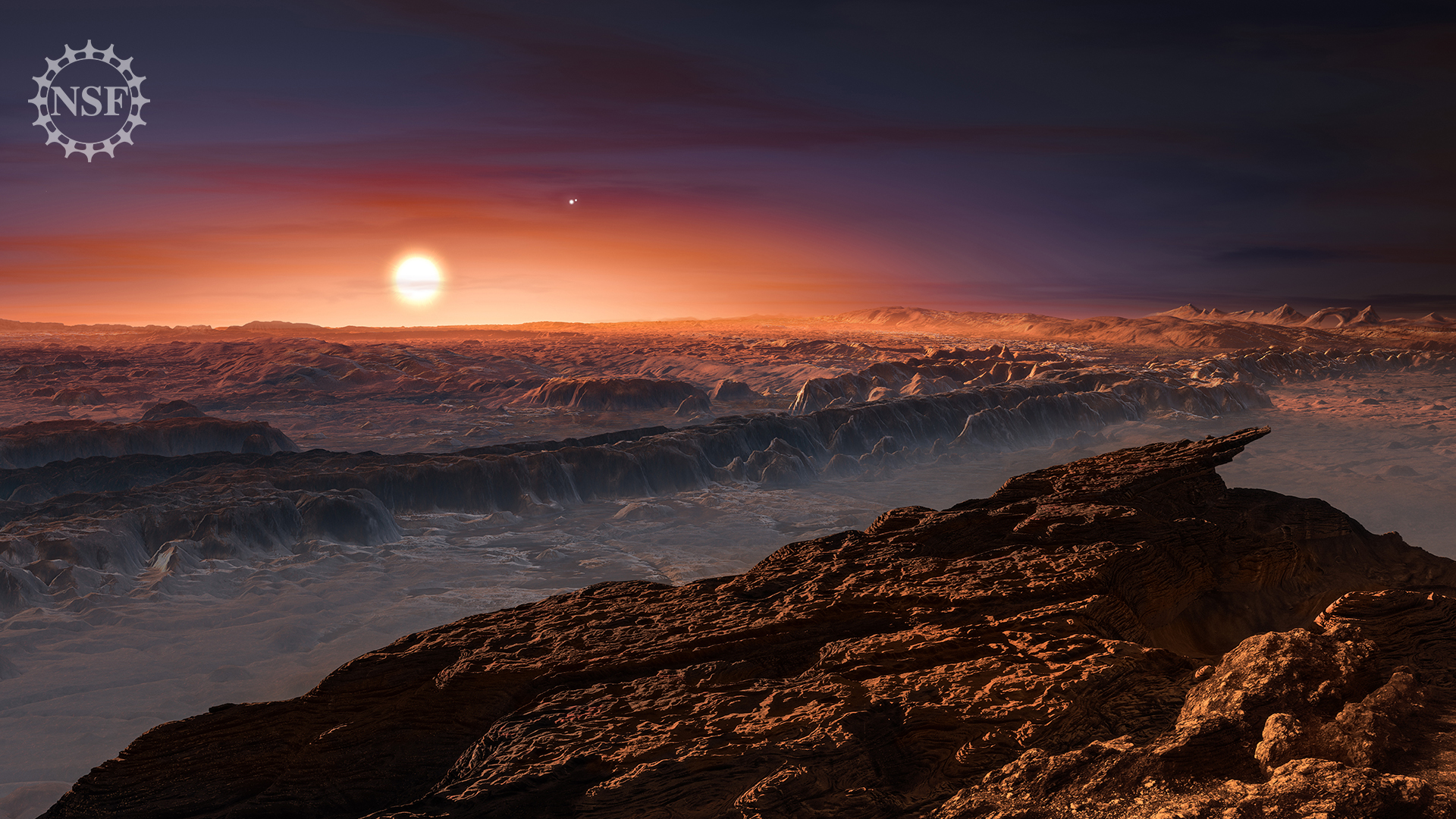 An artist's interpretation of the potentially habitable planet Proxima b orbiting the red dwarf star Proxima Centauri