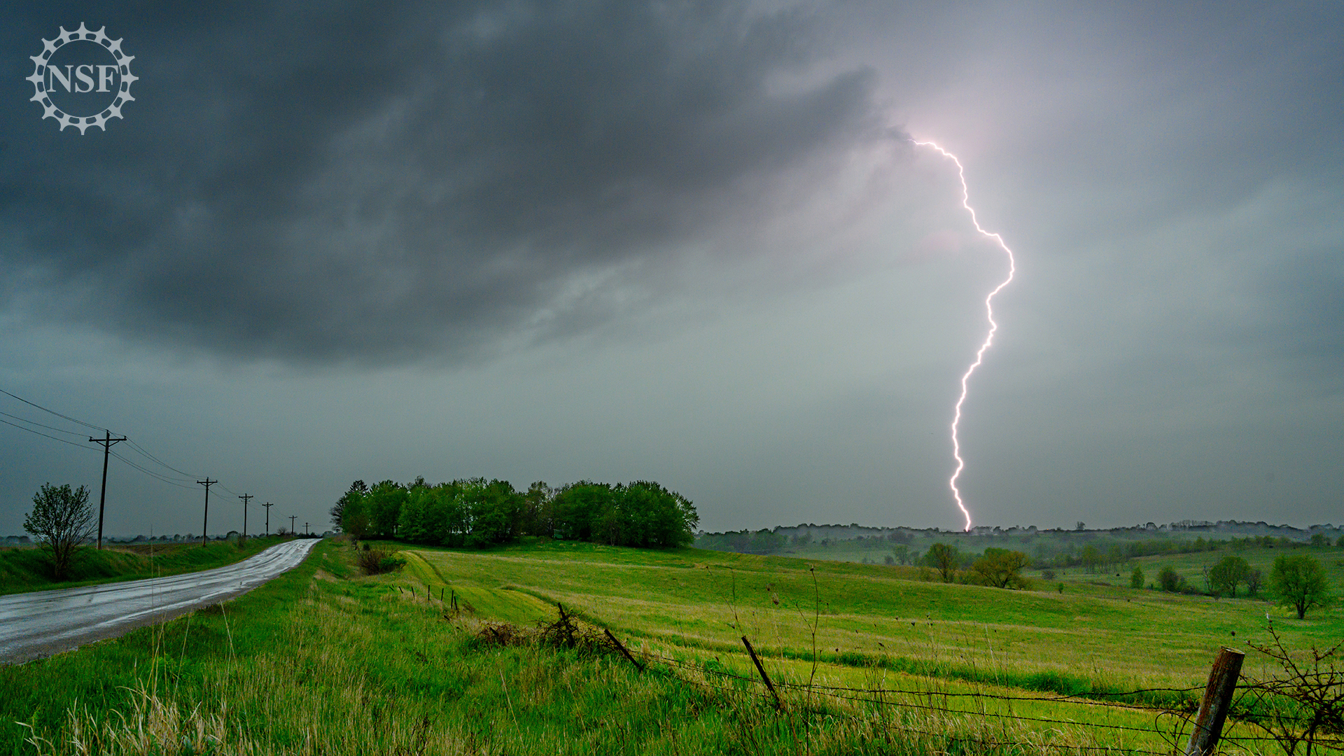 lightning strike in a field