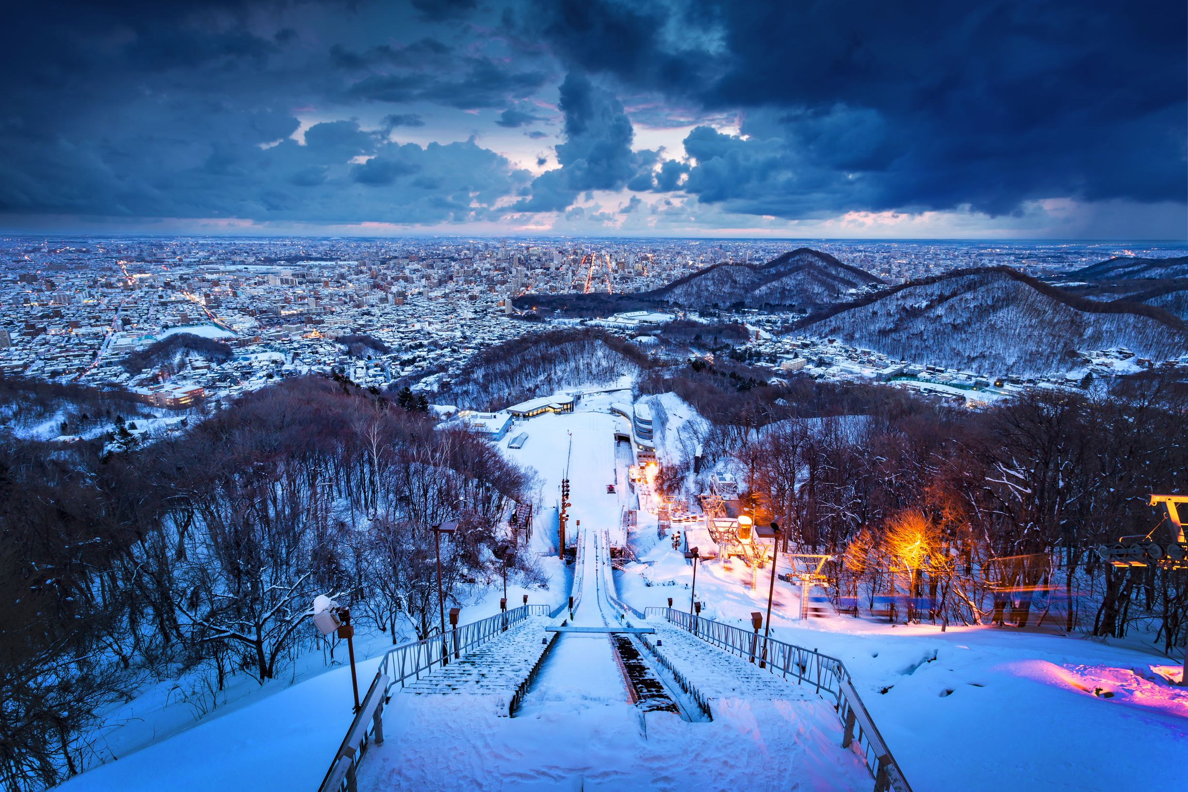 Snow-covered Japan city