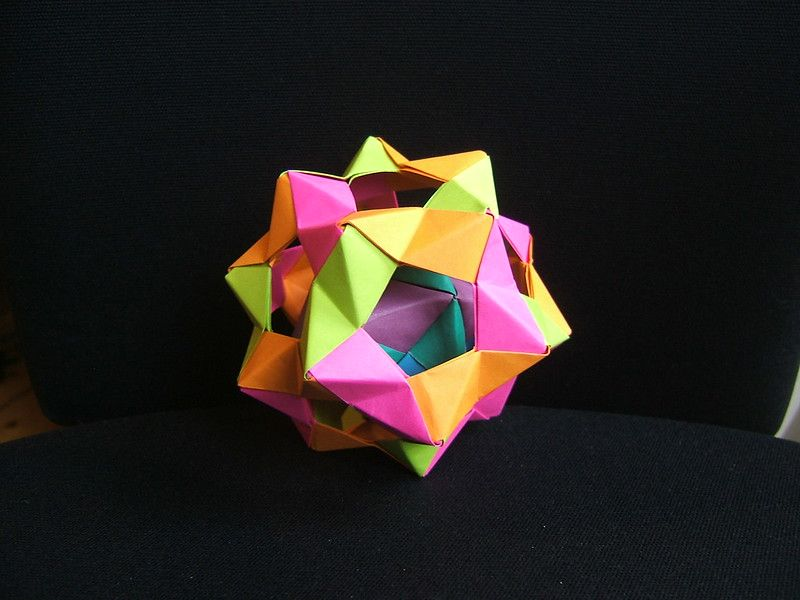 A polyhedron  made out of colorful paper folded together