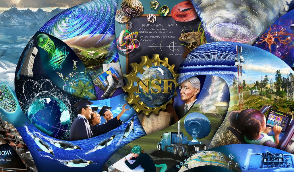 Illustrated mural depicting the fruits of NSF supported research over the past 70 years.
