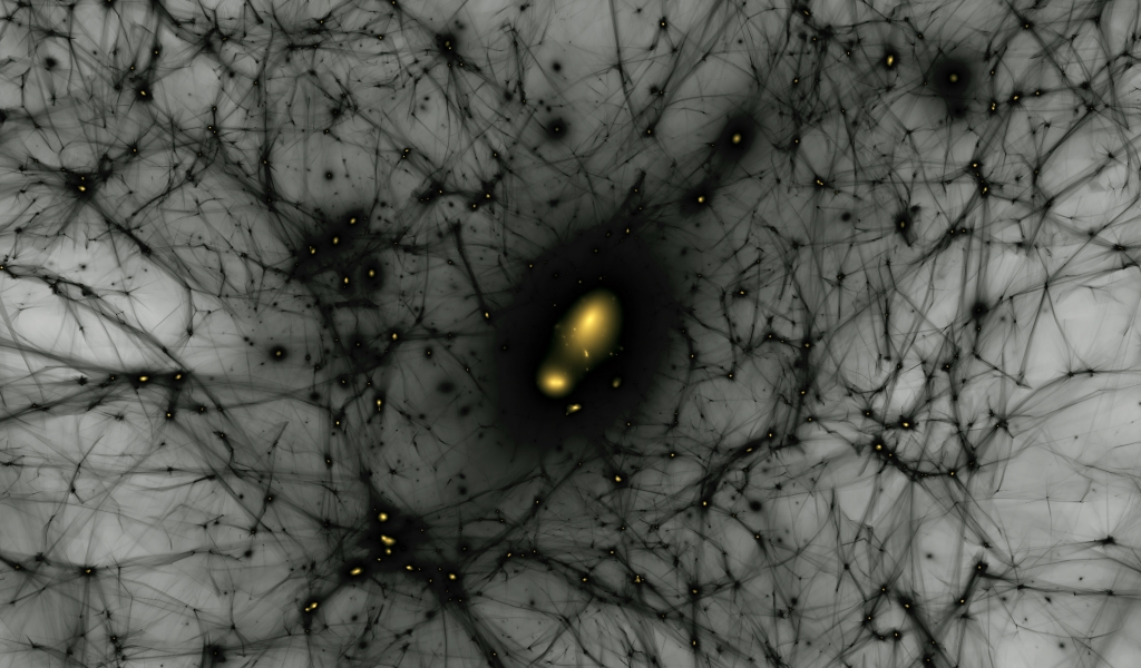 a black webbing spreads across a gray background connecting in nodes of glowing yellow