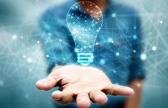 Image of a hand with an illustrated light bulb hovering above