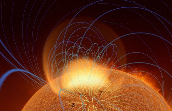 A tangle of magnetic fields rising from a sunspot region creates a coronal mass ejection in this simulation.