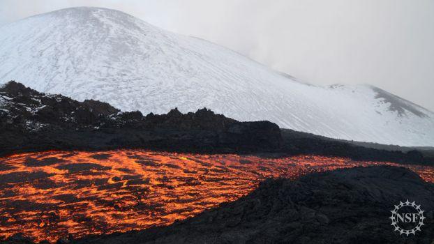 Lava flows from Russia's Tolbachik volcanoes during an eruption