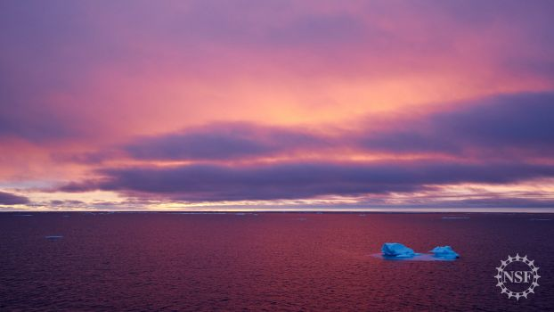 Sunlight reflects off nearly ice-free water in the Canada Basin of the western Arctic