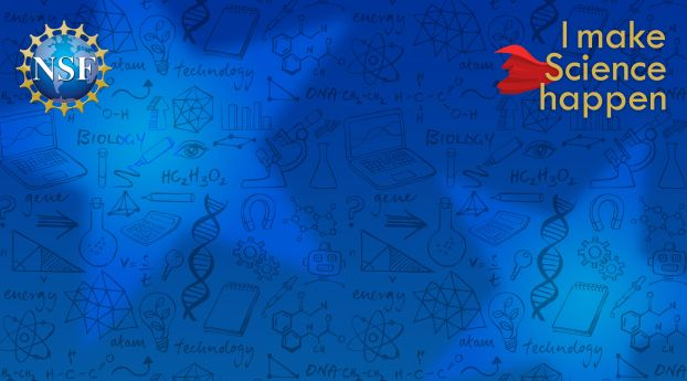 virtual background image for Public Recognition Week, blue background with science vector graphics