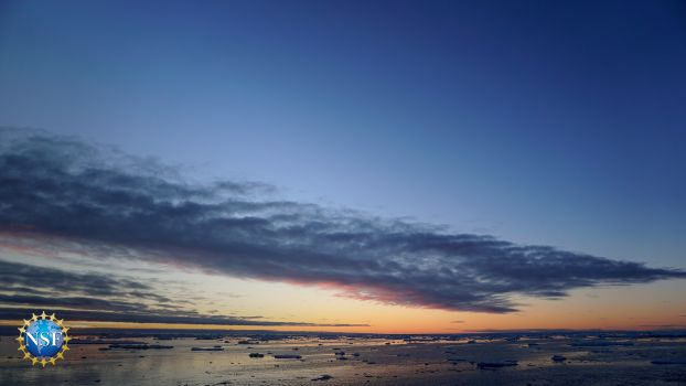 arctic ocean with a sunset