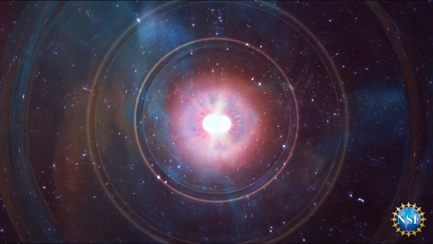 Artist's impression of the explosion and burst of gravitational waves emitted when a pair of superdense neutron stars collide